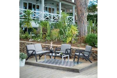 Salon de jardin bas 4 personnes résine/alu gris lounge