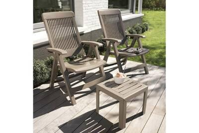 Chaise et fauteuil de jardin Grosfillex Fauteuil en résine dossier ...