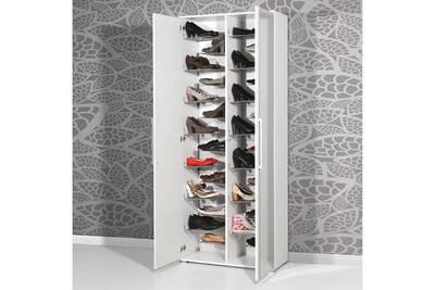 Meuble A Chaussures En Bois Blanc Avec Miroir 28 Paires Espace