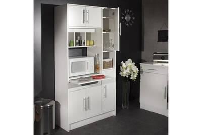 Meuble De Cuisine Micro Ondes Blanc 6 Portes 1 Tiroir 4 Niches Simply