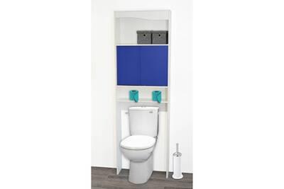 Meuble wc en bois avec 2 portes coulissantes l63cm dysio bleu foncé
