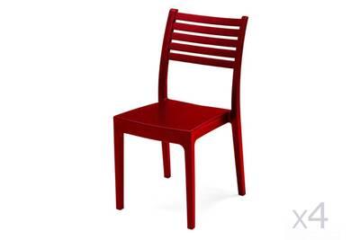 Chaise de jardin design lattes en technopolymère rouge (x4) olimpia