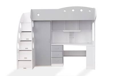 lit enfant somobilia lit combin avec bureau et rangement couchage 90x190 blancgris combal - Lit Combine Enfant