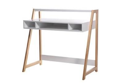Bureau alsapan bureau en bois blanc 1 étagère 3 niches stan darty