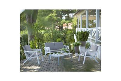 Salon de jardin bas 4 personnes résine/alu blanc lounge