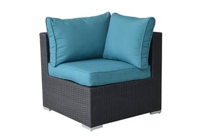 Angle en résine tressée noir pour canapé de jardin modulable akira