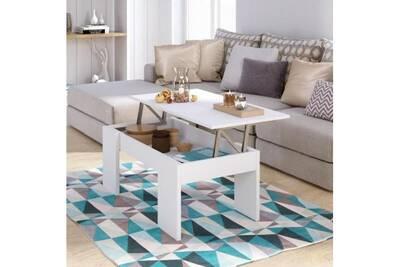 Swing Table Basse Plateau Relevable Style Contemporain Blanc Mat L 100 X L 50 Cm