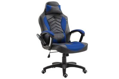 Fauteuil Massant HOMCOM Luxe Chaise De Bureau Gamer Fonction Massage Chauffage Integree Dossier Inclinable Bleu