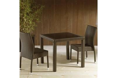 Salon de jardin Nouvomeuble Table de jardin en résine tressée marron ...