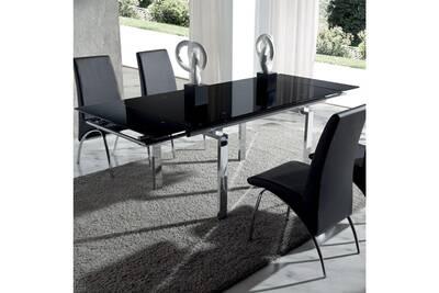 Table à manger en verre noir et métal chromé juline