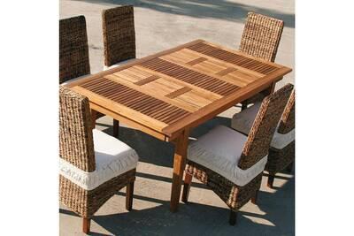 Salon de jardin Nouvomeuble Table de jardin extensible en bois ...