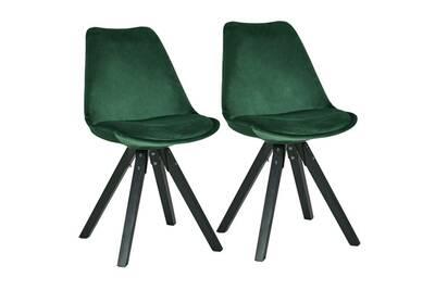Set De 2 Chaises De Salle A Manger Retro En Tissu Velour Vert Pieds Bois Noir Cds09053