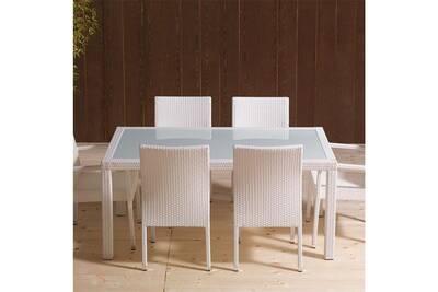 Table de jardin en résine tressée blanche et en verre mimosa 2