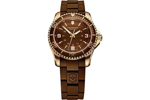 Montre femme victorinox swiss army maverick 241615 bracelet marron en caout