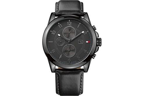 Montre tommy hilfiger 1710295 bracelet noir en cuir