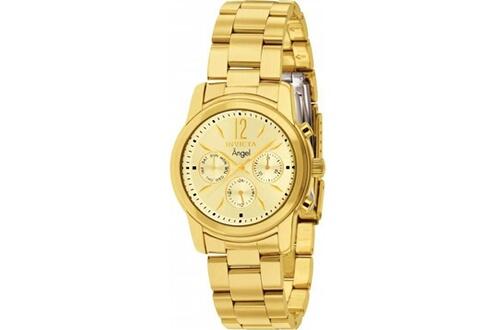 Montre femme invicta angel 12551 bracelet doré jaune 3 rangées de maillons