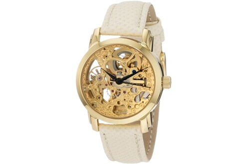 Montre femme akribos xxiv akr431yg bracelet en cuir blanc