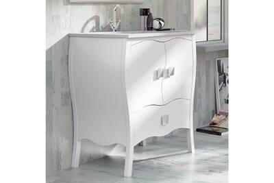 Meuble salle de bain 80 cm laqué blanc + vasque céramique, alcazar
