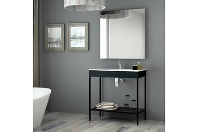 Meuble salle de bain noir 80 cm + vasque céramique, metal