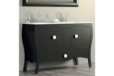 Meuble 120 Cm Noir 2 Portes 1 Tiroir Double Vasque Ceramique Alcazar