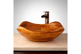Vasque de salle de bain Vasque de salle de bain à poser en teck naturel ø 1e5659403bd5