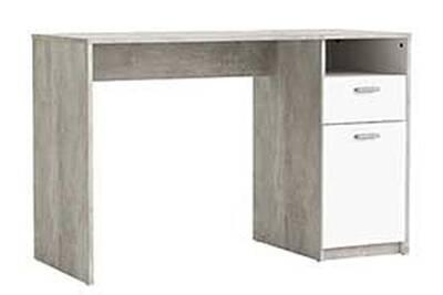 Bureau pegane bureau en bois coloris blanc béton avec 1 tiroir et 1