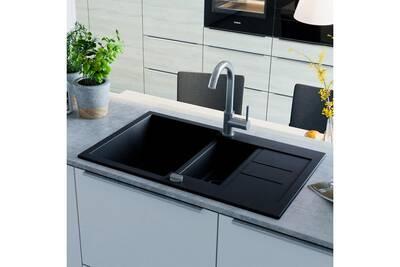 eviers vidaxl vier de cuisine en granit double bac noir. Black Bedroom Furniture Sets. Home Design Ideas
