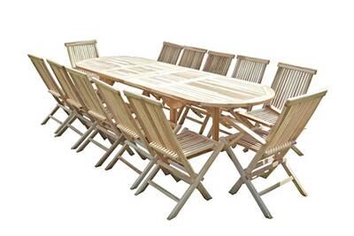 Salon de jardin en teck henua 10 chaises 2 fauteuils