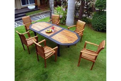 Salon de jardin Wood-en-stock Salon pour jardin en teck huilé et ...