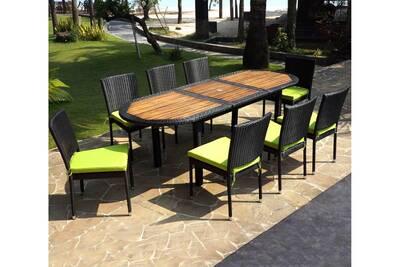 Salon de jardin ensemble table teck et résine tressée et 8 chaises  empilables