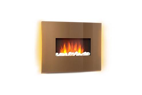Curved copper cheminée électrique - chauffage 1000w / 2000w  - verre & cuiv