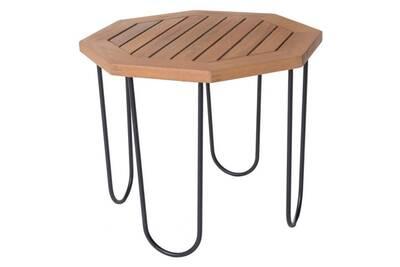 Table de salon de jardin octogonale 50cm en bois d\'acacia et métal  salamanque