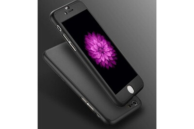 Coque pour apple iphone 8 plus - coque noir verre trempé - housse etui 360 full hybride protection rigide plastique dur anti choc ultra slim ...