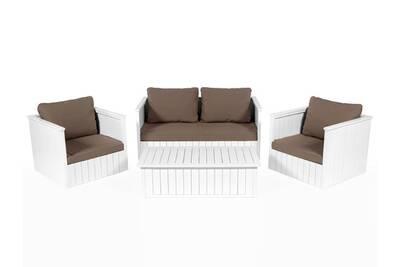 Salon de jardin bas 4 places en eucalyptus blanc + coussins taupe hoedic