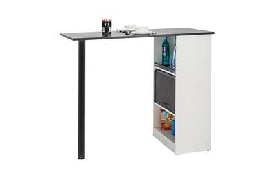 Table Maisonetstyles Table De Bar Avec Rangements 130 Cm Blanc Et Noir Darty