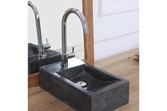 Vasque de salle de bain Mini vasque rectangulaire en pierre de marbre noir Bois  Dessus Bois ed6fccf049ad