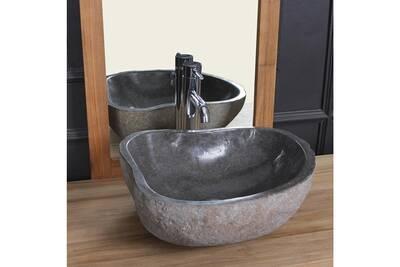 Vasque de salle de bain Bois Dessus Bois Dessous Vasque en pierre de rivière  naturelle 40 db76772f8745