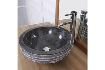 Vasque bol rude en pierre de marbre noir