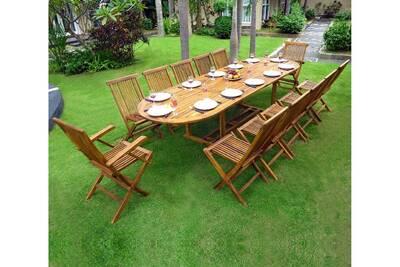 57d3d60f5ca68d Table de jardin Wood-en-stock Salon en teck huilé xxl 12 places - table 200- 250-300 cm