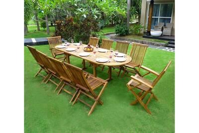 Table de jardin Wood-en-stock Salon de jardin en teck - ensemble ...