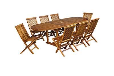 Salon de jardin en teck huilé pour 8-10 personnes table ovale
