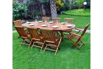 Table de jardin Wood-en-stock Salon de jardin en teck pour 8 à 10 ...