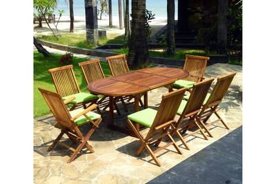 Table de jardin Wood-en-stock Ensemble en teck huilé 8 personnes ...