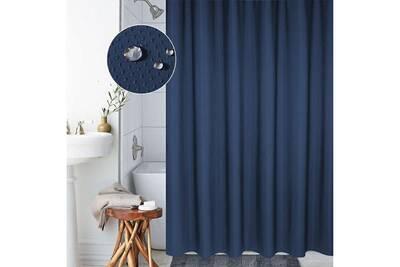 Rideau De Douche étanche 12 Anneaux 200 X 220 Cm Anti Moisissure Polyester Bleu