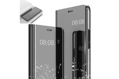 Etui Housse Samsung Galaxy A7 2018 Clear Miroir coque transparent folio Noir