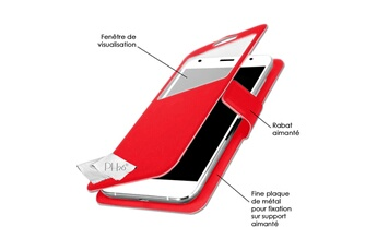 Coque smartphone Etui folio à fenêtre pour Samsung Galaxy Note 3 Lite façon  cuir rouge avec eaa71d7cfd9