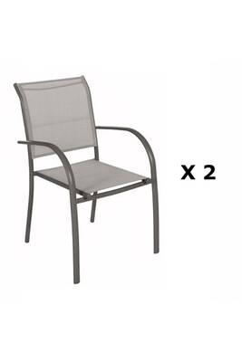 2 chaises de jardin piazza - h. 88 cm - taupe et gris