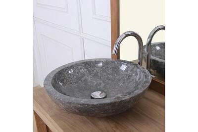 Vasque bol bas en pierre de marbre gris foncé