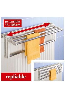 Sèche linge Wenko Porte serviette pour radiateur butterfly - aluminium - l. 58/108 cm