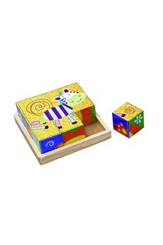Jouets premier âge Imagin Puzzle en bois à 9 cubes - jouet éveil - zèbre